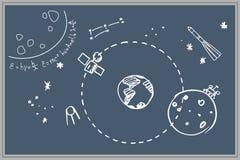 blackboard Postacie z kredą przestrzeń Satelity, planety, rakiety, formuły Szary tło ilustracji