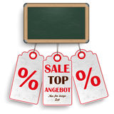 Blackboard Price Stickers Angebot Stock Photography