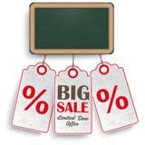 Blackboard Price Stickers Sale Stock Photo