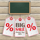 Blackboard Price Stickers Wood Stock Photography