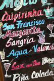 Blackboard promoting cocktails in Valencia, Spain Royalty Free Stock Images