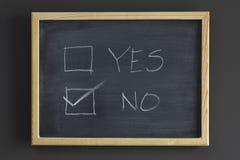 blackboard pudełek czek nie tak Zdjęcia Royalty Free