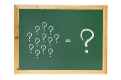 Blackboard with Question Marks. On White Background Stock Photography
