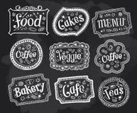 Blackboard, rama, znaki, ręka rysująca doodles Zdjęcia Stock