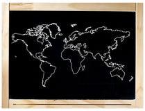 Blackboard Ramowa Światowa mapa Odizolowywająca Obrazy Royalty Free