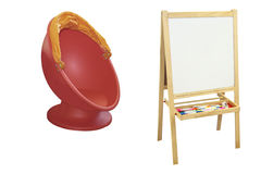Blackboard and red plastic chair Royalty Free Stock Photography