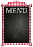 Blackboard with red and white frame and Menu title. Image Royalty Free Stock Photo