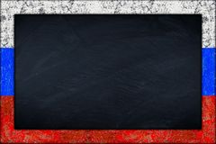 Blackboard with russian flag frame Stock Image