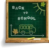 Blackboard with School Bus and expression Back to School Stock Image