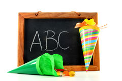 Blackboard with school cone Stock Photo