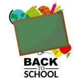 Blackboard with school objects Stock Image