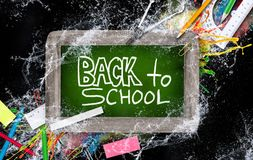 Blackboard with school supplies Stock Images