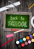 Blackboard with school supplies Royalty Free Stock Images