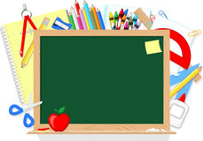 Blackboard and school supplies. Blackboard and school education supplies items isolated on white background Stock Images