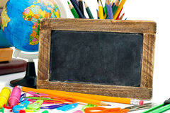 Blackboard with a school supplies Stock Photo