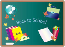 Blackboard with school supplies. Pencils and books Globe backpack. September 1 Royalty Free Stock Photography