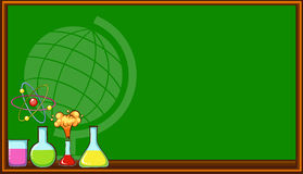 Blackboard and science beakers Royalty Free Stock Photo