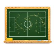 Blackboard showing a schematic plan for football Royalty Free Stock Image