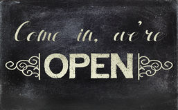 Blackboard sign OPEN Stock Photography