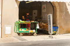 Blackboard sign outside Corneilhan vegetable shop. Stock Photo
