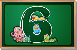 A blackboard with six monsters Stock Photo