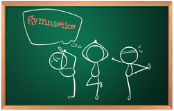 A blackboard with a sketch of the gymnasts. Illustration of a blackboard with a sketch of the gymnasts on a white background Stock Images
