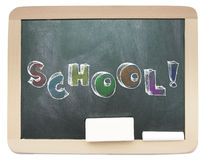 Blackboard with sketchy colorful School word Stock Images