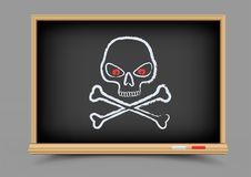 Blackboard skull pirate lesson Royalty Free Stock Images