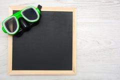 Blackboard and snorkel Stock Image