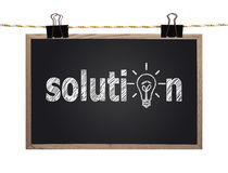 Blackboard with solution Stock Images