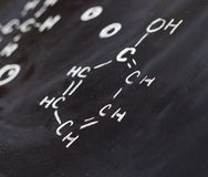 Blackboard with some chemistry structures drawn Stock Photography