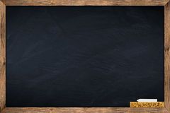 Blackboard with sponge and chalk Stock Image