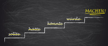 Blackboard Stairway Motivation Haette Sollte Koennte Wuerde Mach Stock Photography