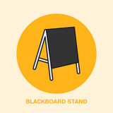 Blackboard stand line icon. Cafe menu outdoor advertising. Exhibition and promotion design element. Trade objects flat Royalty Free Stock Photo