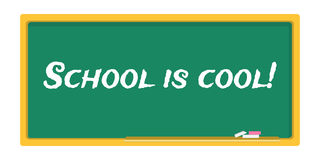Blackboard stationery school is cool Stock Image