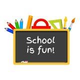 Blackboard, stationery, school is fun Stock Images