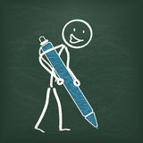 Blackboard Stickman Ballpen Stock Images