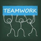 Blackboard Stickman Banner Teamwork Royalty Free Illustration