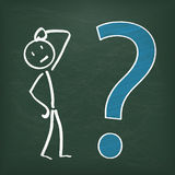 Blackboard Stickman Big Question Stock Photo