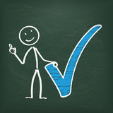Blackboard Stickman Blue Tick Ok Royalty Free Stock Images