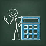 Blackboard Stickman Calculator Stock Photos