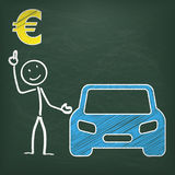 Blackboard Stickman Car Euro Stock Images
