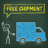 Blackboard Stickman Car Free Shipment Stock Photography