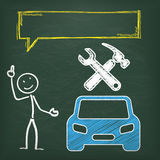 Blackboard Stickman Car Repair Shop Speech Bubble. Blackboard with stickman, blue car and yellow speech bubble Stock Image