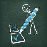 Blackboard Stickman Checklist Blue Pen. Blackboard with stickman and checklist Royalty Free Stock Photos