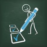 Blackboard Stickman Checklist Blue Pen Royalty Free Stock Photos