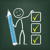 Blackboard Stickman Checklist Royalty Free Stock Photos