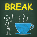 Blackboard Stickman Coffeecup Break Royalty Free Stock Images