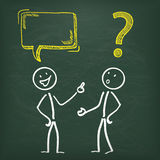 Blackboard Stickman 2 Communication Problem. Blackboard with 2 stickme, speech bubble and yellow question mark Royalty Free Stock Images