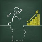 Blackboard Stickman Conquers Rift Chart. Blackboard with stickman and big rift and yellow chart Royalty Free Stock Photos